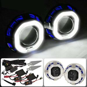 2 5 Bi Xenon Retrofit Projector Headlight Ccfl Halo Angel Eyes Ring Hid Kit