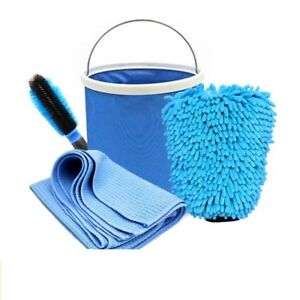 Car Cleaning And Drying Set 4 Pieces Foldable Bucket Microfiber Glove Wash Towel