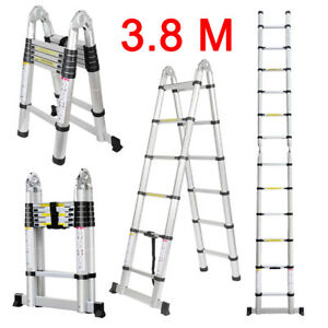 Finether Home 3 8m Heavy Duty Multi purpose Aluminum Telescoping A frame Ladder