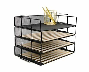 4 Tier Letter Tray Stackable Paper Desk Organizer Black Metal Mesh Document New