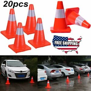 20 Pcs Traffic Cones 12 Slim Fluorescent Reflective Road Safety Parking Cones V