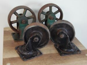Vintage Set Of Cast Iron Cart Wheels Casters Metal Industrial 6 Inch And 5 In