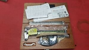 new Set Of Digital Mitutoyo 6 In Caliper And 0 1 In Outside Micrometer Ip65
