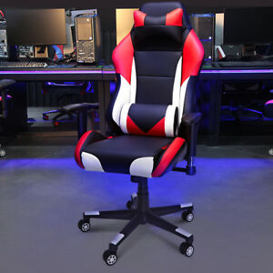 Gaming Chair High Back Ergonomic Neck Cushion Pu Leather Computer Office Seat Us