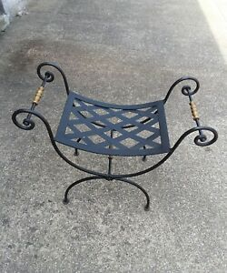 Vintage Black Wrought Iron Scroll Brass Curule X French Bench Vanity Stool
