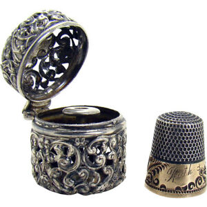 Signed Sterling And Gold Thimble And Holder