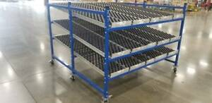 Unex Span Track Wheel Bed Gravity Flow Rack 3 Avail