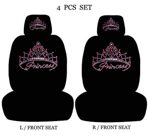 Car Truck 4 Piece Set Rhinestone Studded Seat Covers Headrest Covers 2139 Bk