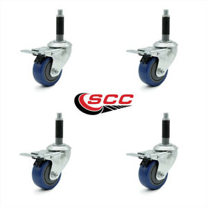 Scc 3 5 Blue Polyurethane Caster W 3 4 Expanding Stem W tl Brake Set Of 4