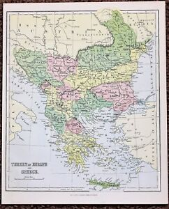 1872 Turkey Greece Map Adriatic Sea Townships Villages Hand Colored Original