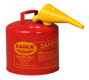 Red Galvanized Steel Type Gasoline Safety Can With Funnel 5 Gallon Gas Metal Can