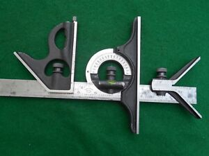 Vintage Moore Wright Combination Set Square Protractor Ctr Finder Sheffield
