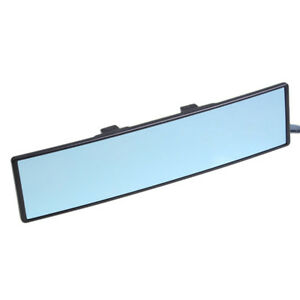 Jdm Blue Glass 300mm Wide Curve Clip On Rear View Mirror W Anti Glare
