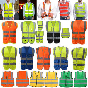 Reflective Adjustable Safety Security High Visibility Vest Stripes Jacket Lot Us
