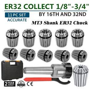 11pcs Er32 Collet Chuck Metric Precision 3 19mm Mt3 Shank Set Spanner For Mill