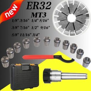 Mt3 Shank With 11pc Er32 Collet Set Er32 Chuck Spanner For Milling Machine New