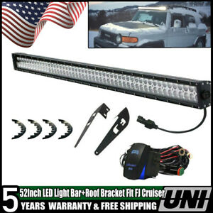 52 Led Light Bar W Upper Roof Bracket Fit 09 14 Dodge Ram 1500 2500 Plug