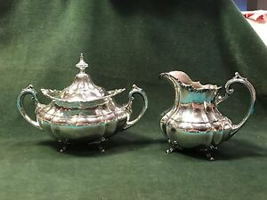 Reed Barton Hampton Court Sterling Silver Lidded Sugar Gold Wash Creamer