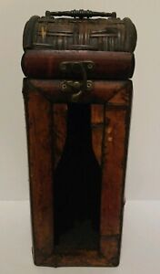 Vintage Hand Made Bamboo Wood Wicker Wine Liquor Bottle Holder Display Box