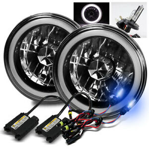 7 Round Semi Seal Black Crystal White 3d Smd Halo Headlights 10000k H4 2 Hid