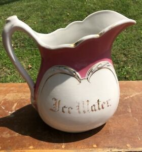 Antique Ice Water Ironstone Water Pitcher C 1890 S Ornate Beautiful Vintage