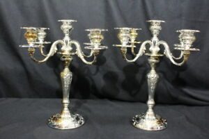 Rare Pair Of Louis Xv Large Plated 5 Light Candelabra Gorham Silverplate Yc3033