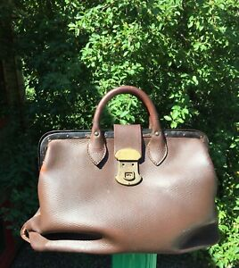 Antique Brown Leather Dr Bag Gladstone Bag Weathered Leather Apothecary Bag