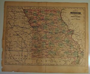 1885 Johnson S Orig Antique Color Copper Plate Map State Of Missouri 10 5x13 In