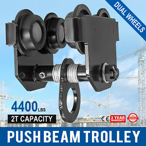 2 Ton Push Beam Track Roller Trolley Dual Wheels Crane Lift Washers Included
