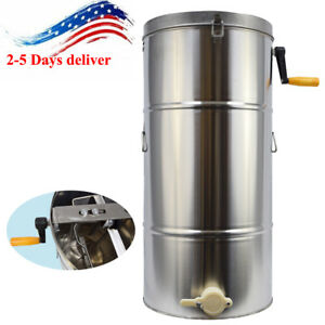 2 Frame Stainless Steel Bee Honey Extractor Honeycomb Drum Beekeeping Supply Usa