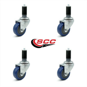Scc 3 5 Blue Polyurethane Caster W 1 3 8 Expanding Stem Set Of 4