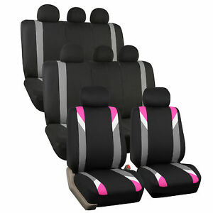 Pink And Black Premium Modernistic Auto Suv Seat Covers 3 Row Set