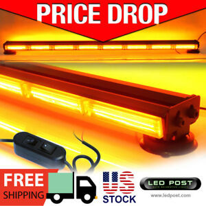 Emergency Light Bar 45 Amber 160w Cob Led Double Side Hazard Warning Strobe