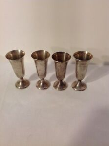4 Sterling Silver Gorham Cordials Footed Shot Glasses 925