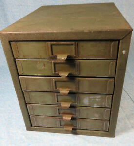 Vintage Industrial 6 Drawer Metal Parts Storage Organizer Cabinet Army Green