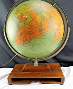 Antique Replogle Library Globe 12 Desk Tabletop Cherry Wood Book Base 1930 S