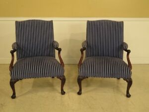 F28483 Pair Vintage Georgian Style Mahogany Upholstered Library Chairs