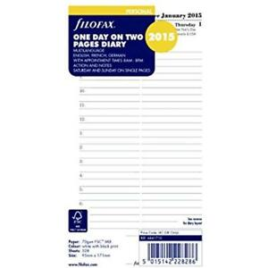 Filofax Day On Two Pages Refill For 2016 Personal compact Size Yearly Calendar
