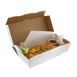 Long White 11 3 8 X 5 5 8 X 2 5 8 Corrugated Dinner Take Out Box Case Of 50