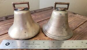 Antique Brass Cow Bells With Original Clappers
