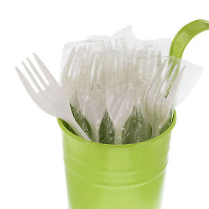 Cibowares Individually Wrapped Medium Weight White Plastic Forks Case Of 1 000
