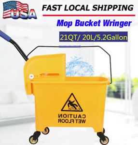 Rolling Mini Side Press Mop Bucket With Wringer 21qt 5 2 Gallons 20l Yellow