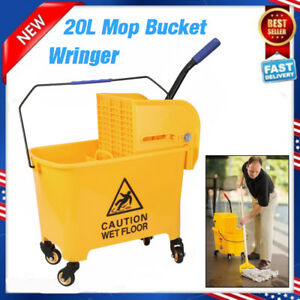 Mini Press Commercial Mop Bucket Wringer 20l 5 2 Gal Yellow Commercial Combo Us