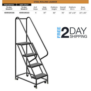 Rolling Step Ladders W Guardrail Work Shop 4 Step Ladder Retail Platform System