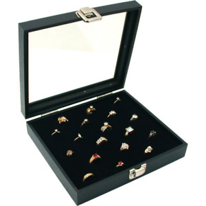 36 Slot Ring Insert Glass Top Display Case Liner New Storage Jewelry Box Holder