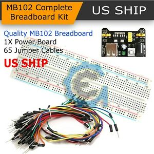 830 Point Solderless Breadboard 65 Pcs Jumper Cable Mb 102 Power Supply Module