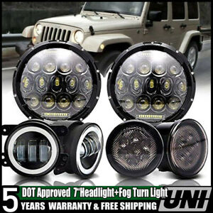 Led Turn Signal 7 Headlight W Hi lo Beam fog Light Fit 07 18 Jeep Wrangler Jk