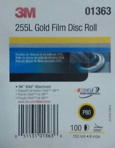 3m Stikit 255l Gold Film 6in Disc Roll P80 Sand Paper 100per Roll