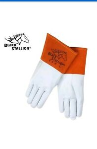 5 Pair Black Stallion 25k Long Cuff Prem grain Kidskin Tig Welding Gloves Large