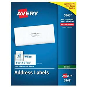 Avery White Copier Mailing Labels 5363